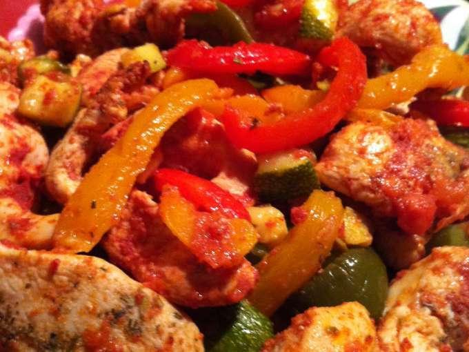 Eminc de poulet aux 3 poivrons l 39 actifry recette - Cuisiner le poivron vert ...