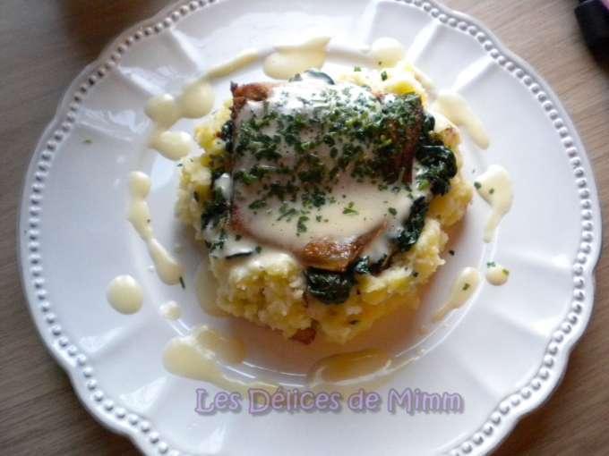 ... , purée aux lardons, épinards et sauce sabayon, Recette Ptitchef