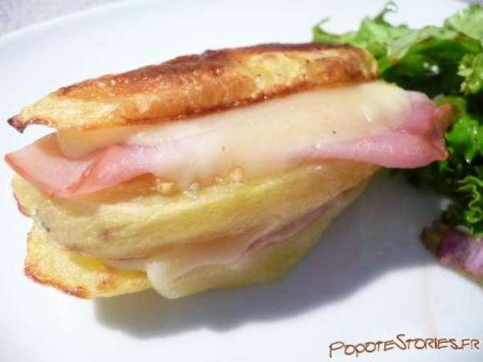 Mille feuilles de pomme de terre a la raclette et au bacon recette ptitchef - Feuille pomme de terre ...