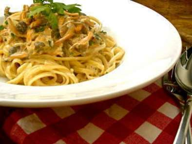 Recette Spaghetti, sauce cremeuse aux girolles