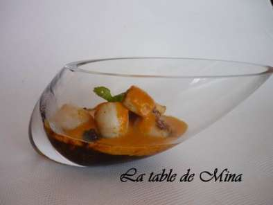 Recette Saint-jacques au chutney orange chorizo, jus d'orange sanguine au corail