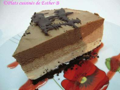 Recette Gâteau fromage aux 3 chocolats (cheesecake)