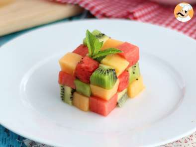 Recette Rubik cube de fruits, la salade de fruit design