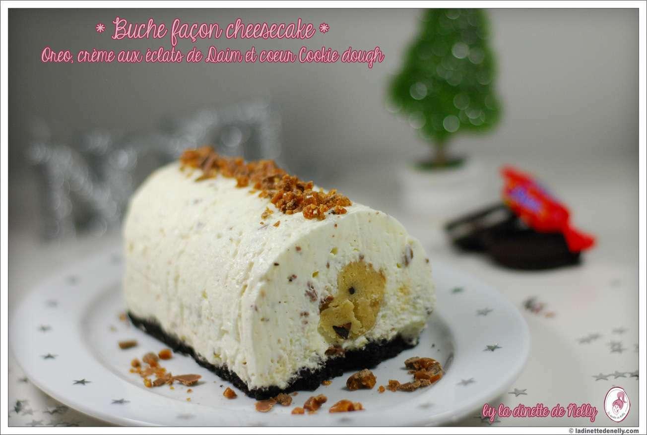 B che fa on cheesecake sans cuisson aux oreo clats de daim et coeur cookie dough recette - Buche aux marrons sans cuisson ...
