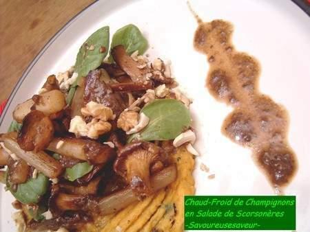 chaud froid de champignons en salade de scorson res recette ptitchef. Black Bedroom Furniture Sets. Home Design Ideas