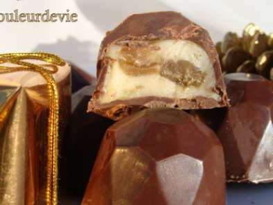 Chocolats au lait fourrés ganache vanillée aux marrons glacés, Photo 2