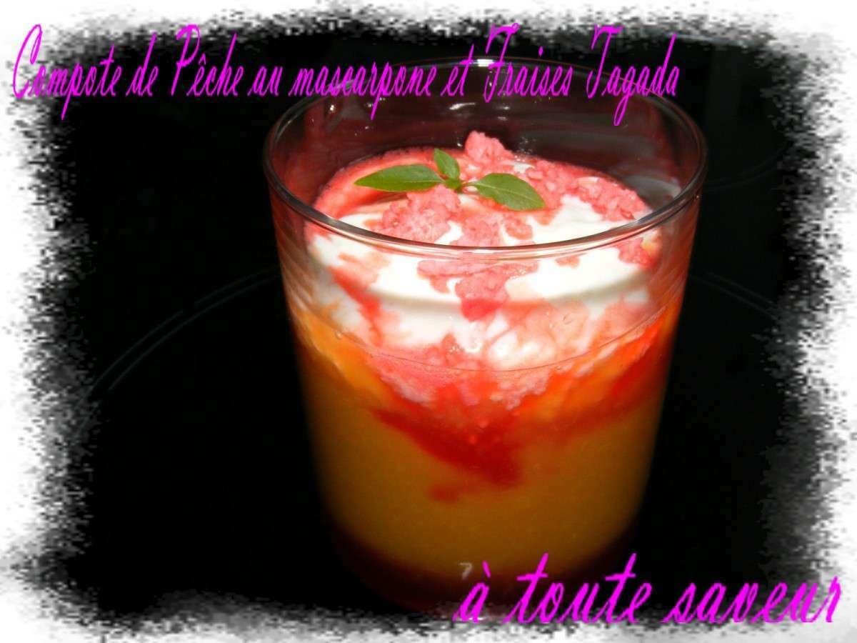 Compote de p ches au mascarpone et sirop de fraises tagada - Peches au sirop sans sterilisation ...