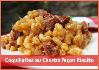 coquillettes au chorizo fa on risotto recette ptitchef. Black Bedroom Furniture Sets. Home Design Ideas