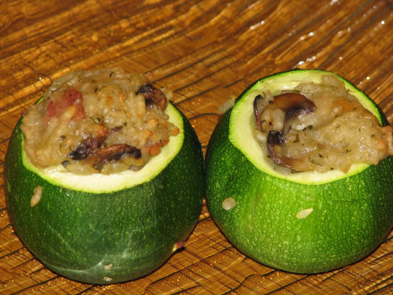 Courgettes farcies au risotto aux champignons et parmesan, Recette Ptitchef