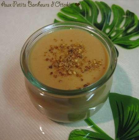 cr 232 me au caramel au lait de soja grains de pralin recette ptitchef