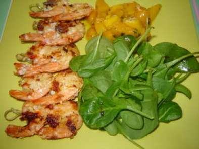 Crevettes à La Coco Salade De Mangue Et épinards Frais Recette - Cuisiner des epinards frais