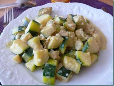 Curry de courgettes et colin au lait de coco