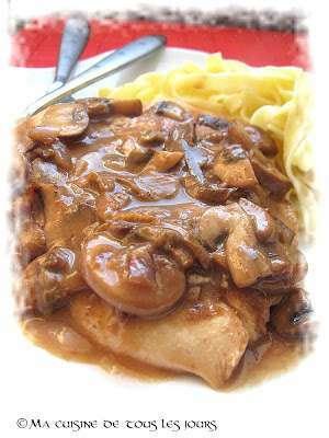 Escalopes de poulet, sauce aux deux champignons, Recette Ptitchef