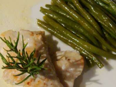 Filet de cabillaud ou de turbot, à la crème au camembert, haricots verts...., Photo 2