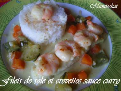 Filets de soles et crevettes au curry