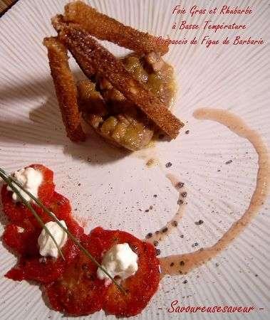 Foie gras la rhubarbe en basse temp rature et carpaccio de figues de barbarie recette ptitchef - Temperature cuisson foie gras ...
