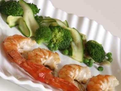 Gambas la sauce gingembre et ses l gumes verts recette ptitchef - Accompagnement gambas grillees ...
