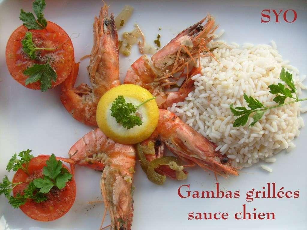 Gambas grill es la plancha sauce chien du petit bistro de mamigoz recette ptitchef - Sauce pour crustaces grilles ...