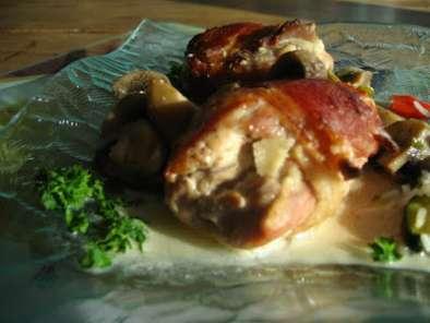 le poulet et le brut hauts de cuisse de poulet au ch vre. Black Bedroom Furniture Sets. Home Design Ideas