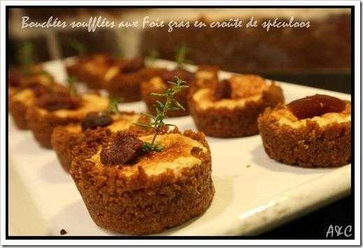 mini bouch es souffl es au foie gras en cr ute de sp culoos et figue recette ptitchef. Black Bedroom Furniture Sets. Home Design Ideas