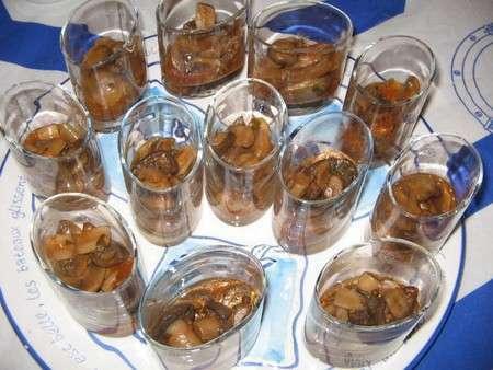 Minis verrines de champignons a la grecque, Recette Ptitchef