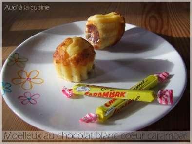 moelleux au chocolat blanc coeur carambar recette ptitchef. Black Bedroom Furniture Sets. Home Design Ideas