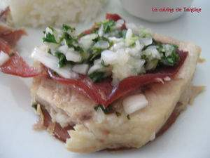 Noisette d 39 espadon grill au bacon sauce chien recette - Steak d espadon grille sauce combava ...