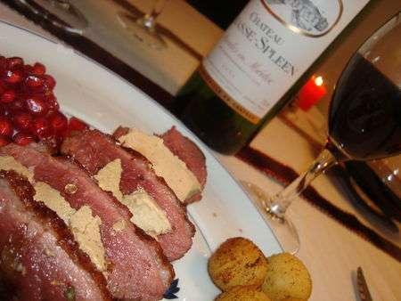 Notre plat de no l magret de canard au foie gras po l e de champignons et grenade recette - Magret de canard noel ...