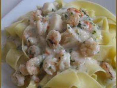 P tes la sauce aux fruits de mer et la cr me recette ptitchef - Pates aux fruits de mer recette italienne ...
