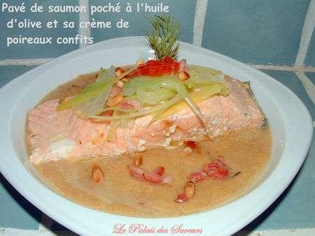 Pav de saumon poch l 39 huile d 39 olive et sa cr me de - Comment cuisiner des paves de saumon ...