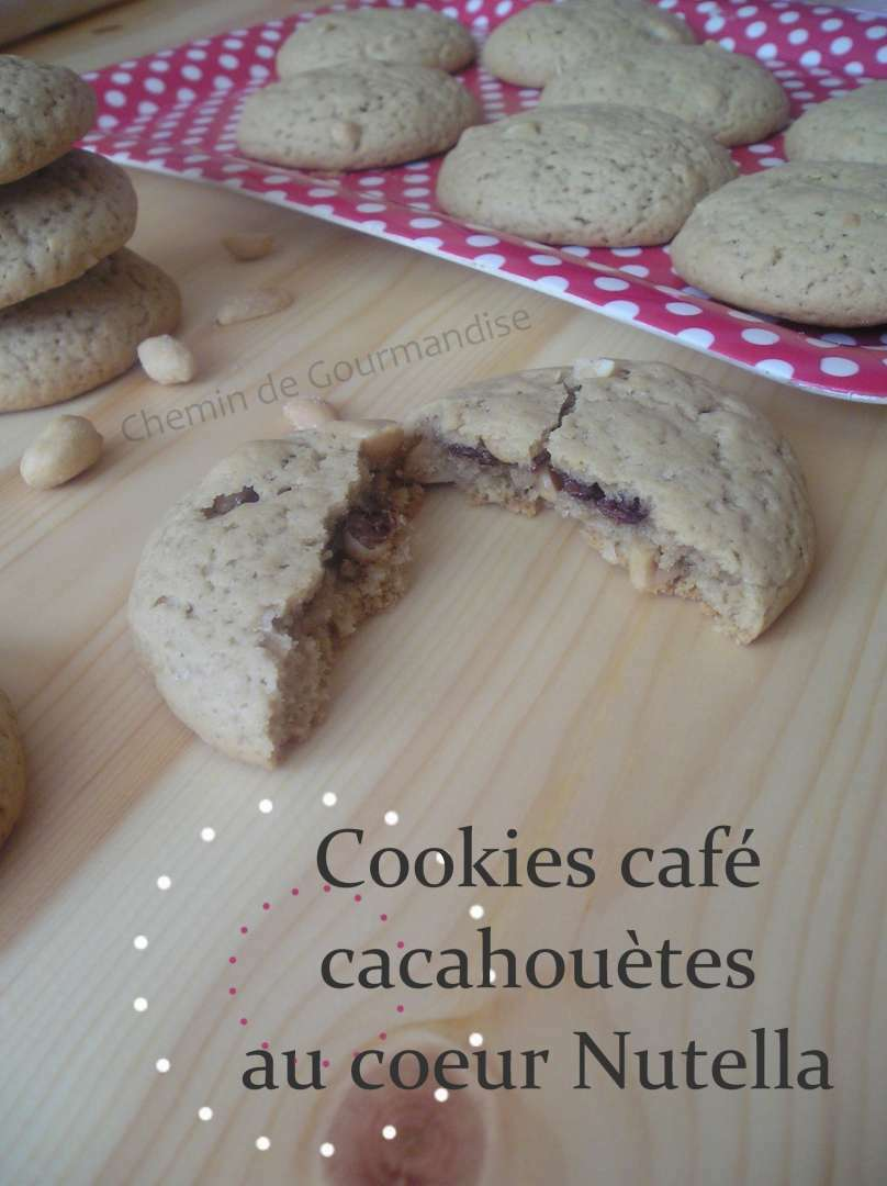 petits cookies caf cacahou tes au coeur nutella recette. Black Bedroom Furniture Sets. Home Design Ideas