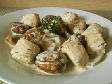 Poulet aux châtaignes & champignons, Recette Pchef on