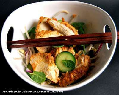 poulet thai aux cacaouettes salade de concombres recette ptitchef. Black Bedroom Furniture Sets. Home Design Ideas