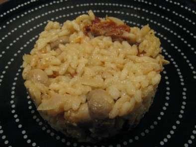 risotto au poulet roti et champignons