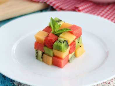 Rubik's Cube de fruits, la salade de fruits design