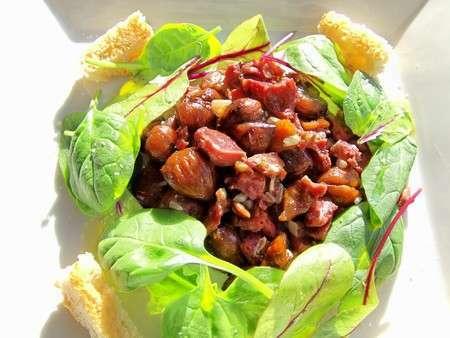 Salade aux g siers de canard confits ch taignes grill es jeunes pousses recette ptitchef - Recette chataignes grillees ...