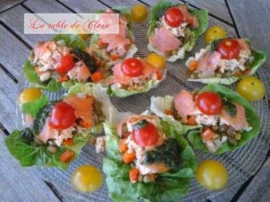 Salade de saumon et mac doine de l gumes en feuilles de sucrine recette ptitchef - Comment presenter des crevettes en entree ...