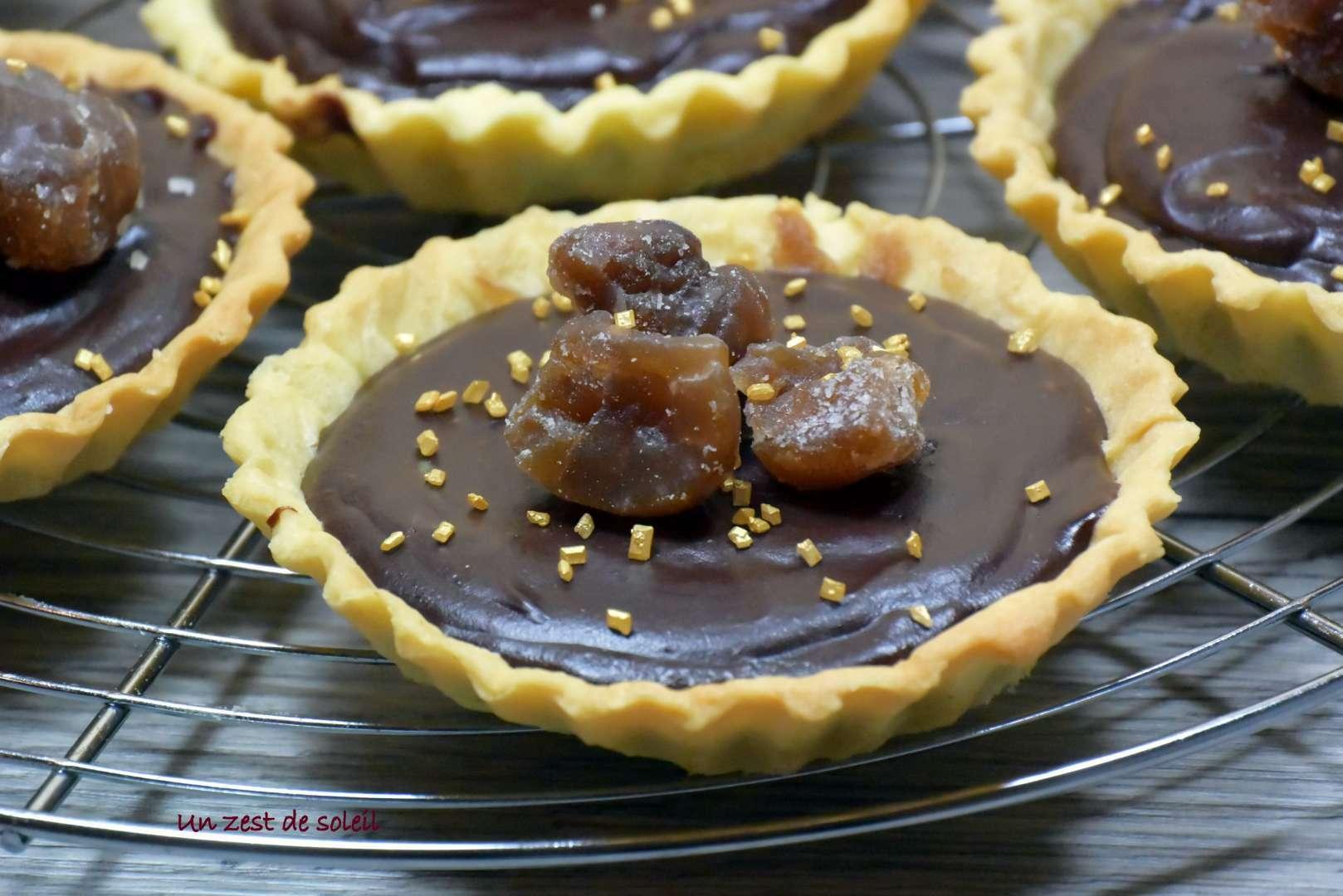 Tartelette la cr me de marron et chocolat recette ptitchef - Dessert a la creme de marron ...