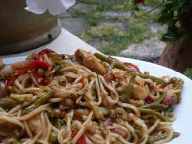 Wok De Nouilles Chinoises Sautees Aux Legumes Et Poulet Recette