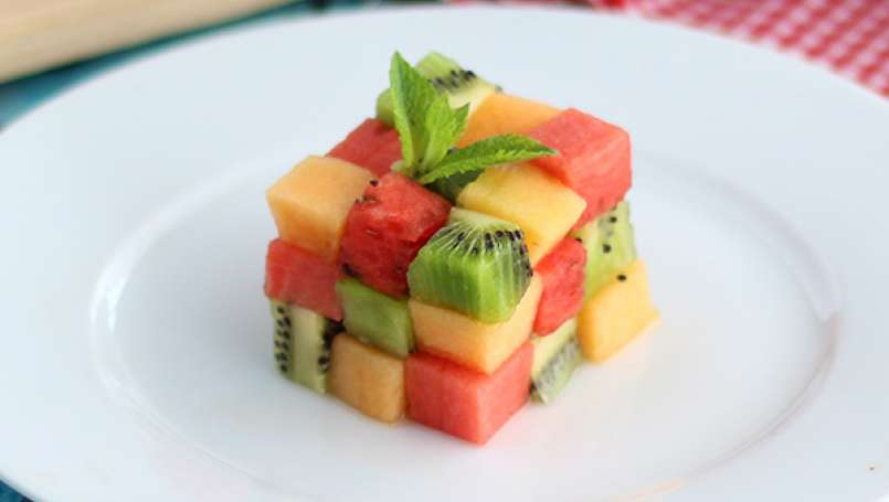 Rubik Cube de fruits, la salade de fruit design